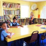 Children Studying Childrens Library Placencia