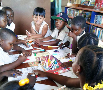 Group Of Children Enjoying Crafts Hopkins Belize